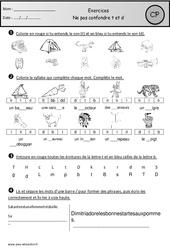 Ne pas confondre t et d – Cp – Exercices – Etude des sons – Cycle 2