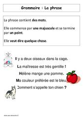 La Phrase – Affiche pour la classe – Cp – Grammaire – Cycle 2