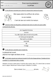 Phrase – Exercices – Cp – Grammaire – Cycle 2