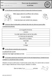 Phrase - Exercices - Cp - Grammaire - Cycle 2