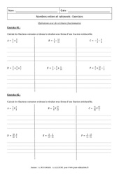 Opérations avec des écritures fractionnaires – 3ème – Révisions – Brevet des collèges