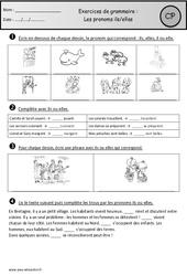 Pronoms ils-elles – Exercices – Cp – Grammaire – Cycle 2