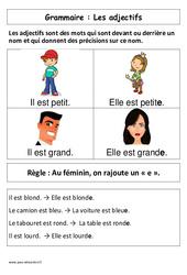 Les adjectifs – Affiche pour la classe – Cp – Grammaire – Cycle 2