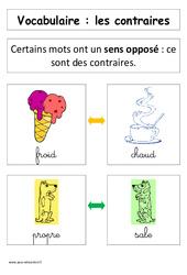 Les contraires– Affiche pour la classe – Cp – Vocabulaire – Cycle 2
