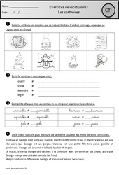 Contraires – Exercices – Cp – Vocabulaire – Cycle 2