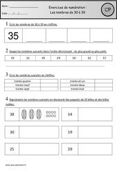 Révisions – Nombres de 30 à 39 – Cp – Cycle 2