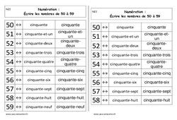 Ecrire les nombres de 50 à 59 - Cp - Leçon