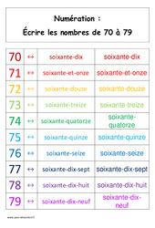 Ecrire les nombres de 70 à 79 – Affiche pour la classe – Cp – Cycle 2