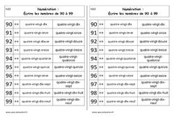 Ecrire les nombres de 90 à 99 – Cp – Leçon