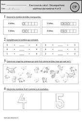Exercices – Décompositions additives des nombres 4 et 5 – Cp – Cycle 2