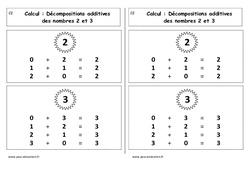 Décompositions additives des nombres 2 et 3 - Cp - Leçon