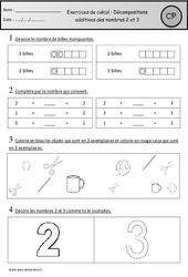 Exercices – Décompositions additives des nombres 2 et 3 – Cp – Cycle 2