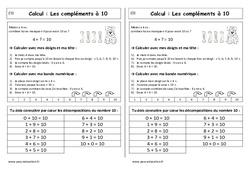 Compléments à 10 + la maison du 10 - Cp - Leçon