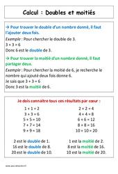 Doubles et moitiés – Cp – Affiche pour la classe – Calcul – Cycle 2