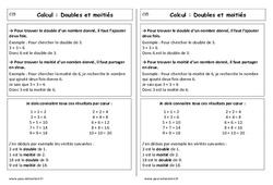 Doubles et moitiés - Cp - Leçon