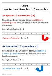 Ajouter ou retrancher 1 à un nombre -  Cp – Affiche pour la classe – Calcul – Cycle 2