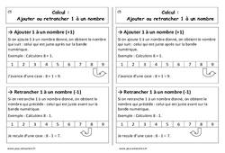 Ajouter ou retrancher 1 à un nombre - Cp - Leçon
