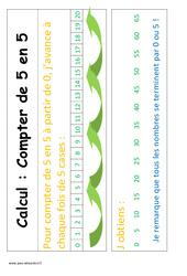 Compte de 5 en 5 – Cp – Affiche pour la classe – Calcul – Cycle 2