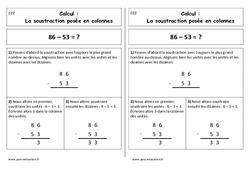 Soustraction posée en colonnes - Cp - Leçon