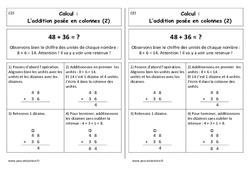 Addition posée en colonnes avec retenue - Cp - Leçon