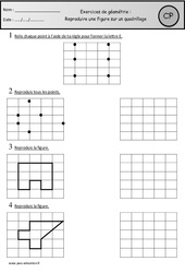 Exercices - Reproduire une figure sur un quadrillage – Cp – Cycle 2