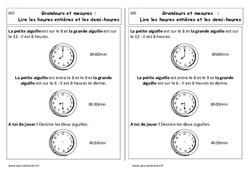Lire les heures entières et demi-heures - Cp - Leçon