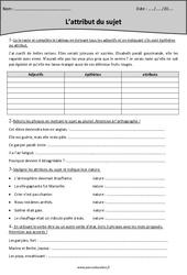 Attribut du sujet – Cm2 – Exercices – Grammaire