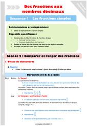 Comparer des fractions – Cm1 – Cm2 – Séance 2 – Fractions simples – Séquence 1