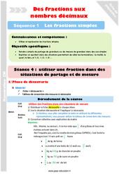 Fractions et mesures – Cm1 – Cm2 – Séance 4 – Fractions simples – Séquence 1