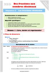 Lire – Ecrire et représenter – Cm1 – Cm2 – Séance 1 – Fractions décimales – Séquence 2