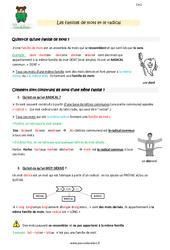 Familles de mots et le radical – CM1 – Leçon