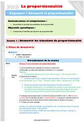 Découvrir les situations de proportionnalité – Cm1 – Cm2 – Séance 1 – Proportionnalité – Séquence 1