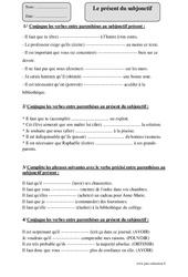 Présent du subjonctif – Cm2 – Fiche d'exercices avec correction