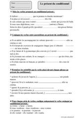 Présent du conditionnel – Cm2 – Fiche d'exercices avec correction