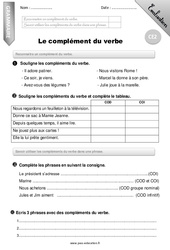 Complément du verbe – Ce2 – Evaluation – Bilan