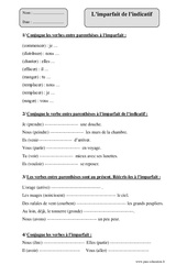 Imparfait – Cm2 – Fiche d'exercices avec correction