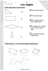 Angles - CM2 - Exercices à imprimer