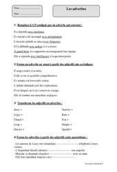 Adverbes – Cm2 – Fiche d'exercices avec correction