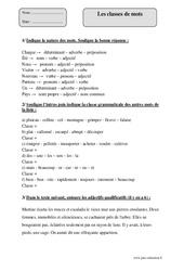 Classes de mots – Cm2 – Fiche d'exercices avec correction