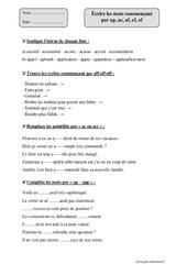 Écrire les mots commençant par ap, ac, af, ef, of – Cm2 – Fiche d'exercices avec correction