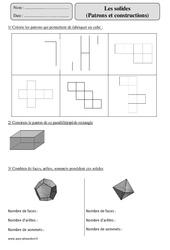 Solides - Patrons - Constructions– Cm2 – Révisions géométrie