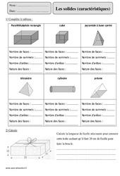 Solides – Cm2 – Exercices avec correction