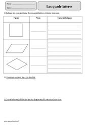 Quadrilatères – Cm2 – Révisions à imprimer
