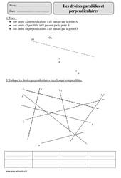 Droites parallèles - Droites perpendiculaires – Cm2 – Exercices avec correction
