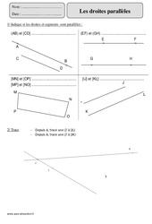 Droites parallèles – Cm2 – Exercices à imprimer
