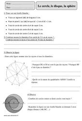 Cercle - Disque - Sphère – Cm2 – Révisions avec correction