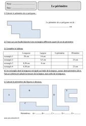 Périmètre du rectangle – Cm2 – Révisions à imprimer