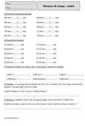Unités - Mesures de temps – Cm2 – Exercices à imprimer