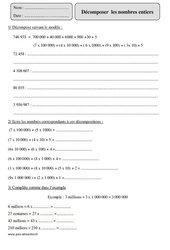 Décomposer les nombres entiers – Cm2 – Révisions avec correction