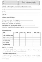 Lire et écrire les nombres entiers – Cm2 – Exercices à imprimer